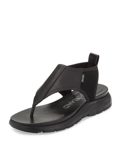 ZeroGrand™ Leather/Mesh Thong Sandal, Black