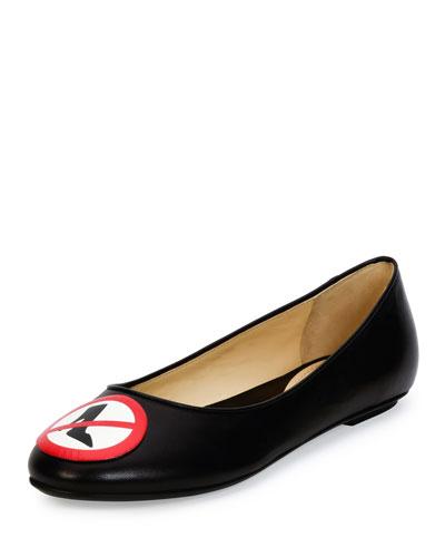 No Heels Leather Ballerina Flat, Black