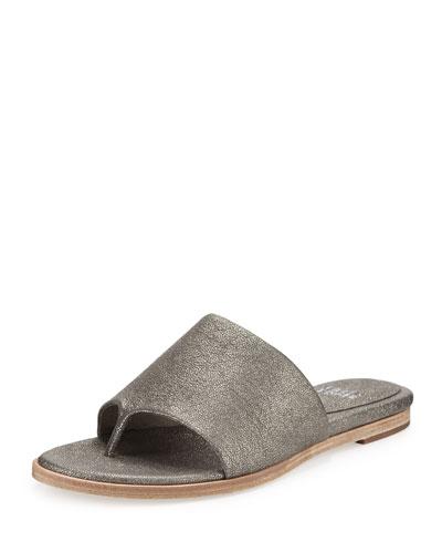 Edge Leather Thong Sandal, Pewter
