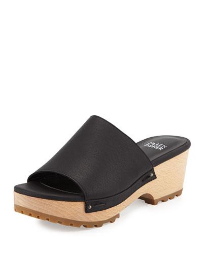 Wood Leather Clog Mule, Black