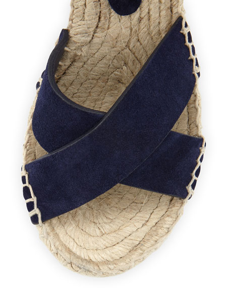 Stefania Suede Espadrille Wedge Sandal, Heather Indigo