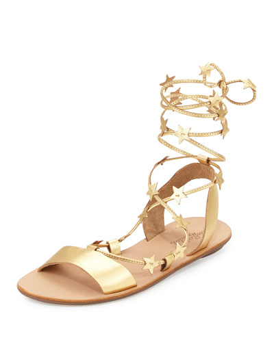 Starla Leather Gladiator Sandal, Pale Gold