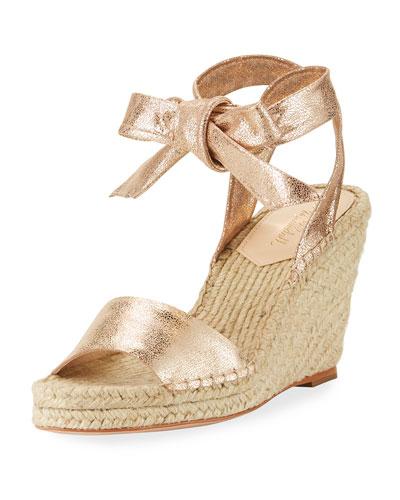 Harper Ankle-Wrap Wedge Espadrille Sandal, Gold