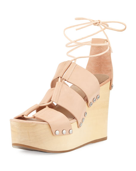 Loeffler Randall Ines Leather Lace-Up Wedge Sandal, Nude
