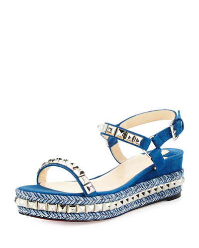 Cataclou Studded Red Sole Demi-Wedge Sandal, Navy/Silver