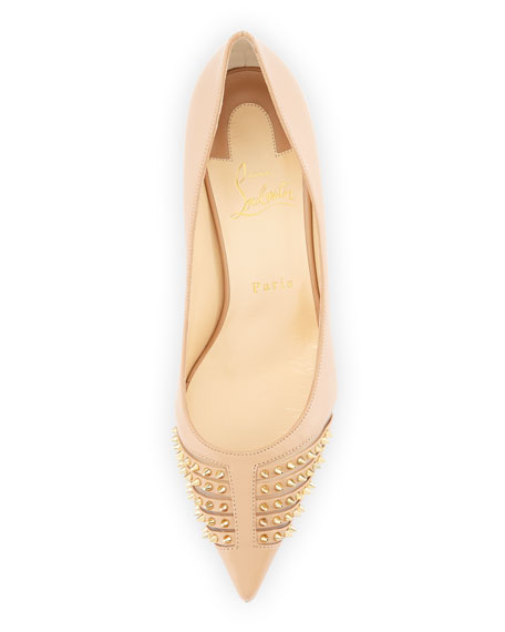 replica slippers - Christian Louboutin Baretta Studded 70mm Red Sole Pump, Nude/Light ...