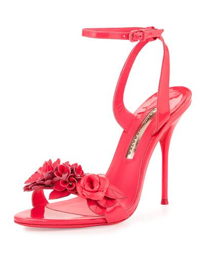 Lilico Floral Patent Sandal, Fluorescent Pink
