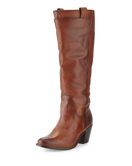 Jackie Tall Leather Riding Boot, Redwood