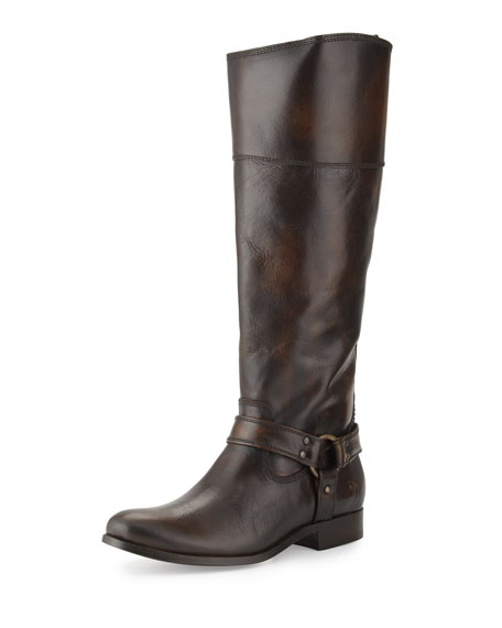 Frye Melissa Harness Inside-Zip Leather Boot, Dark Brown