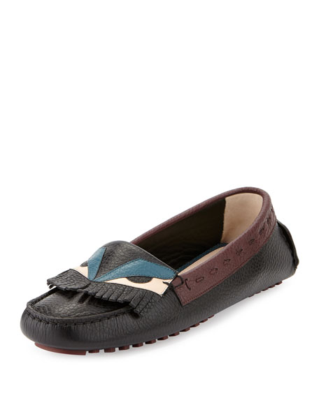 Fendi Bug Leather Moccasin Driver Flat, Black/Multi
