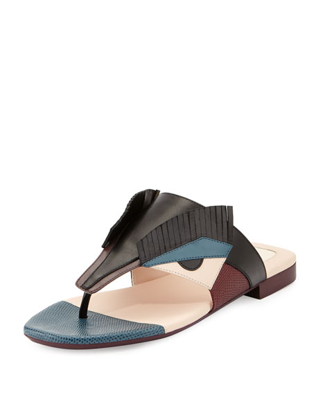 Fendi Bug Monster Leather Flat Thong Sandal, Black/Multi