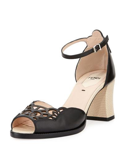 Chameleon 65mm Ankle-Wrap Sandal, Black/Multi