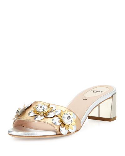 Flowerland Metallic Slide Sandal, Champagne/Silver