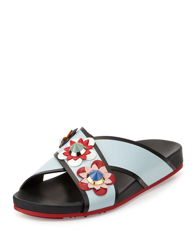 c98b506c1aa1 Fendi Flowerland Crisscross Sport Slide Sandal