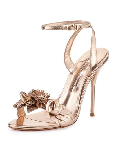 Lilico Floral Leather Sandal, Rose Gold