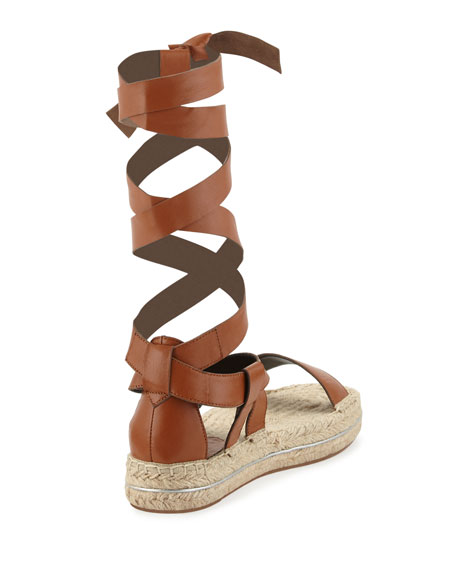 Gila Lace-Up Espadrille Sandal, Chestnut