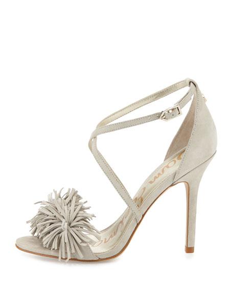 Aisha Suede Fringe High-Heel Sandal, Greige