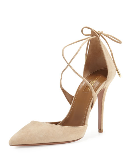 Aquazzura Matilde Crisscross Suede 105mm Pump, Nude