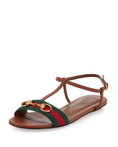 4ec9423501e Gucci Leather Web T-Strap Flat Sandal
