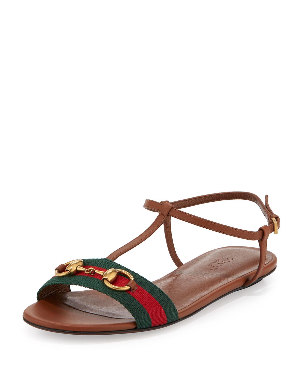 2dc83b102 Gucci Leather Web T-Strap Flat Sandal