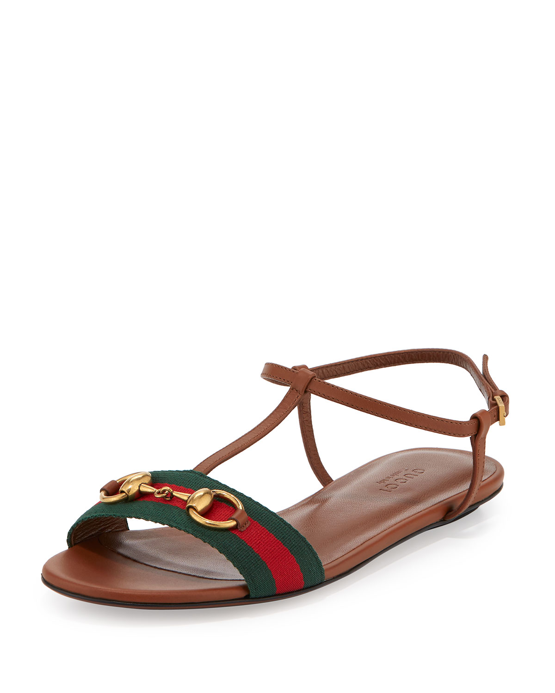 63114bf0b95b Gucci Leather Web T-Strap Flat Sandal