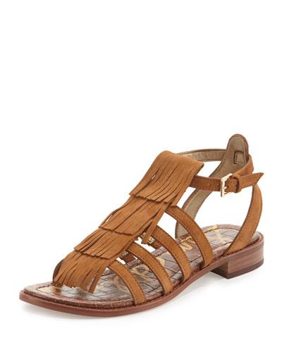 Estelle Fringe Suede Flat Sandal, Saddle