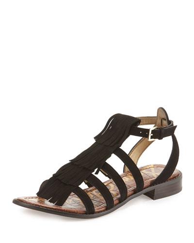Estelle Fringe Suede Flat Sandal, Black