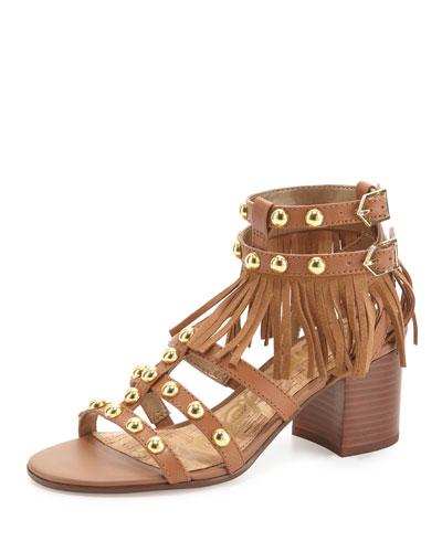 Shaelynn Studded Fringe City Sandal, Saddle
