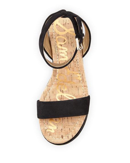 Henley Suede Flatform Wedge Sandal, Black