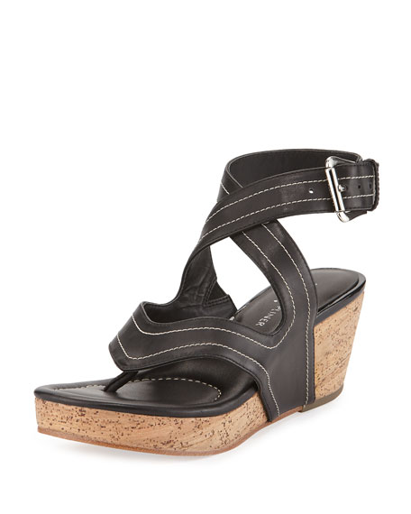Donald J Pliner Alma Ankle-Strap Wedge Sandal, Black