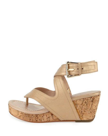 Alma Ankle-Strap Wedge Sandal, Light Gold
