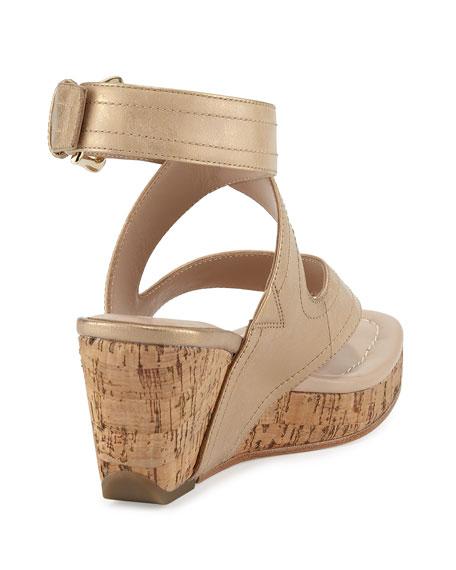 Alma Ankle-Strap Wedge Sandal, Light Gold