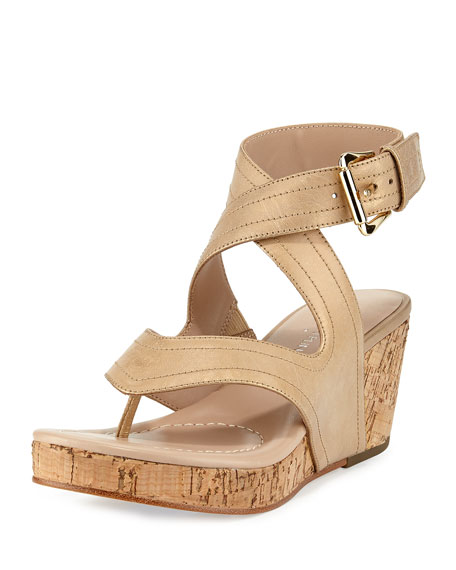 Donald J Pliner Alma Ankle-Strap Wedge Sandal, Light