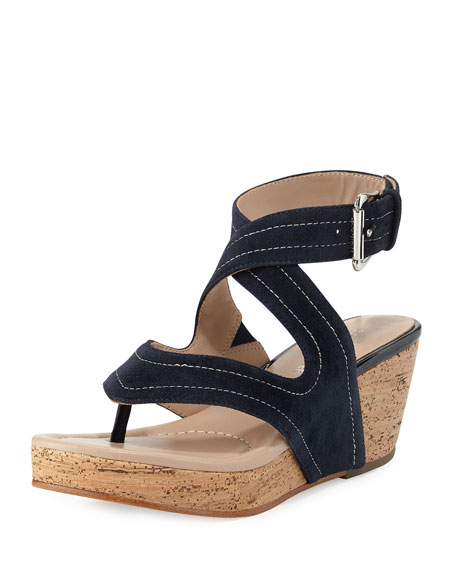 Donald J PlinerAlma Ankle-Strap Wedge Thong Sandal, Navy