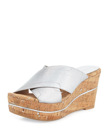 Dani Stretch Wedge Slide Sandal, Silver