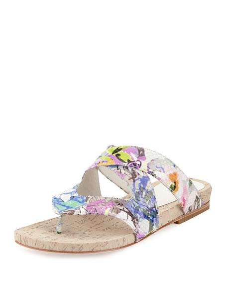 Donald J Pliner Flip Floral Snake-Embossed Sandal, White/Multi
