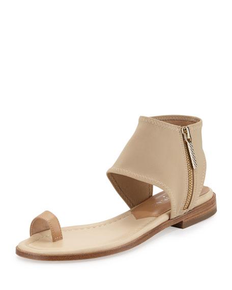 Donald J Pliner Lily Stretch-Ankle Flat Sandal, Sand