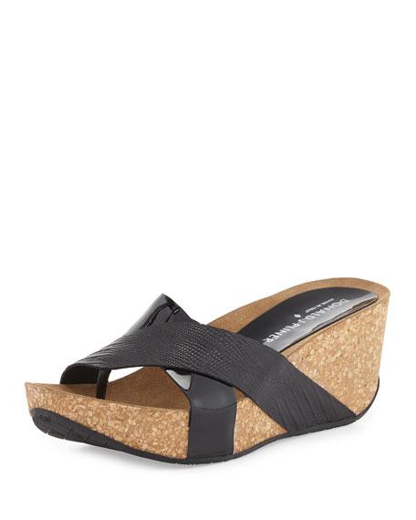 Donald J Pliner Gallo Crisscross Wedge Sandal, Black