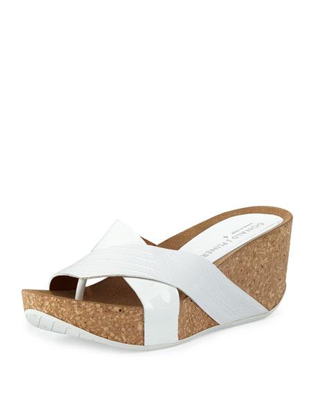 Donald J Pliner Gallo Crisscross Wedge Sandal, White
