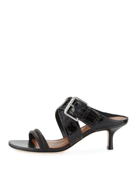 Donald J Pliner Mora Buckle Kitten-Heel Slide Sandal, Black