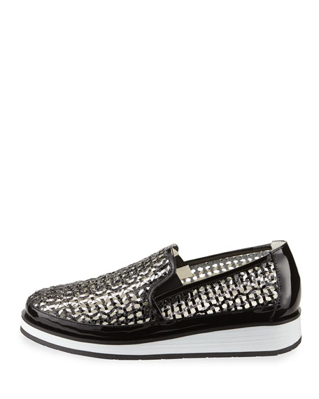 Maze Woven Leather Slip-On Sneaker, Black/Pewter