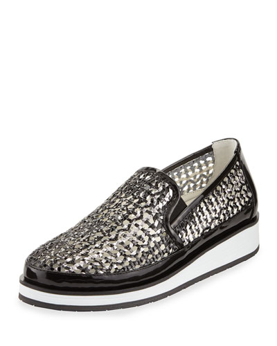 Maze Woven Leather Slip-On Sneaker, Black/Pewter