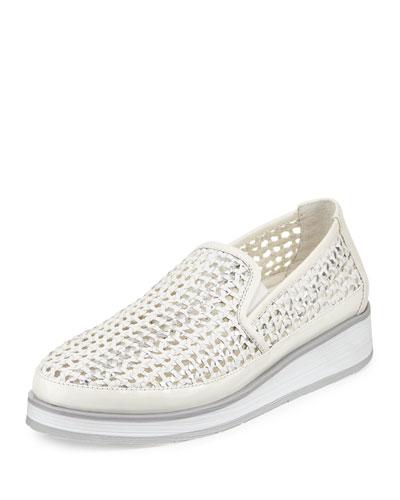Maze Woven Leather Slip-On Sneaker, White/Silver