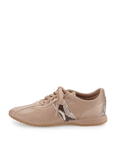 Bria Grand Perforated Leather Sneaker, Maple Sugar/Roccia