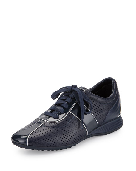 Bria Grand Perforated Leather Sneaker, Blazer Blue