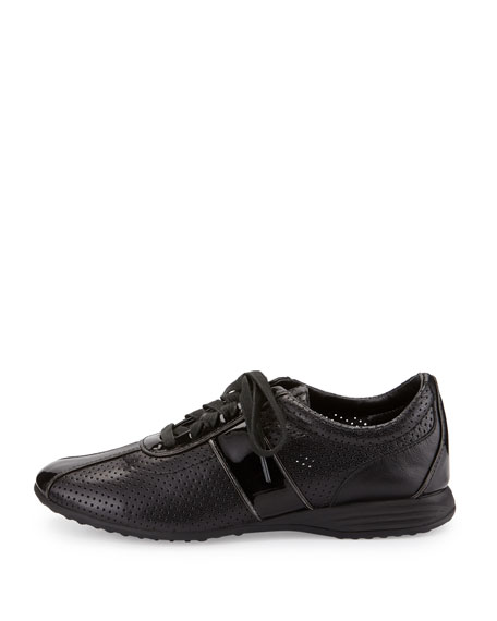 Bria Grand Perforated Leather Sneaker, Black