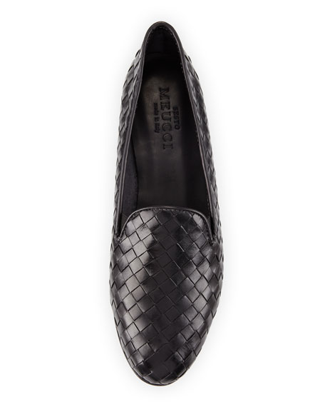 Nader Woven Leather Loafer, Black
