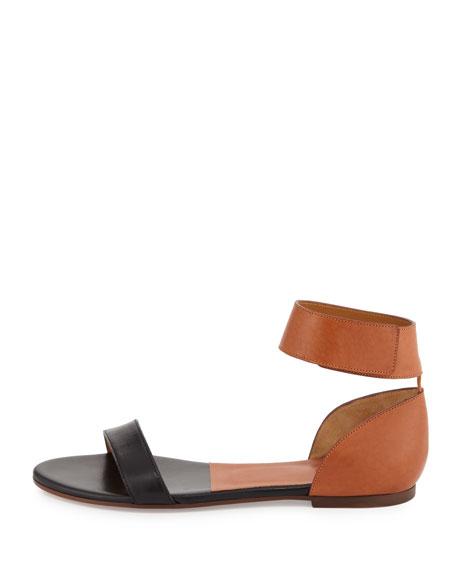 Chloe Two-Tone Leather Flat Sandal, Tan/Black