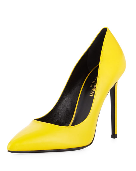 Saint Laurent Paris Leather 105mm Pump, New Jaune
