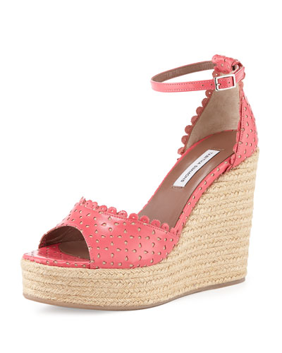 Harp Eyelet Leather Wedge Sandal, Coral